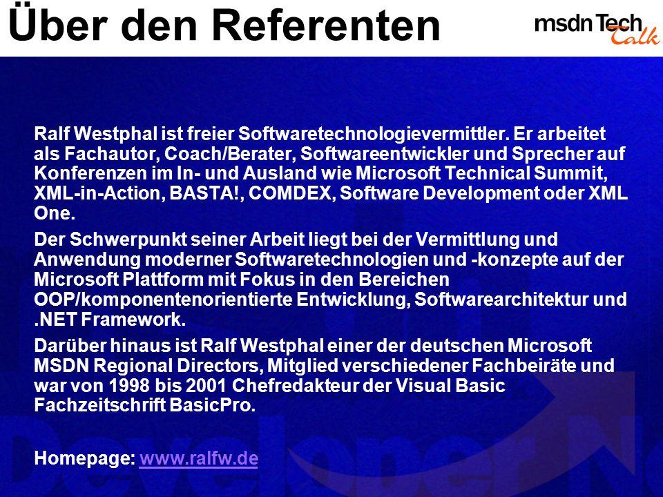 Über den Referenten Ralf Westphal ist freier Softwaretechnologievermittler. Er arbeitet als Fachautor, Coach/Berater, Softwareentwickler und Sprecher