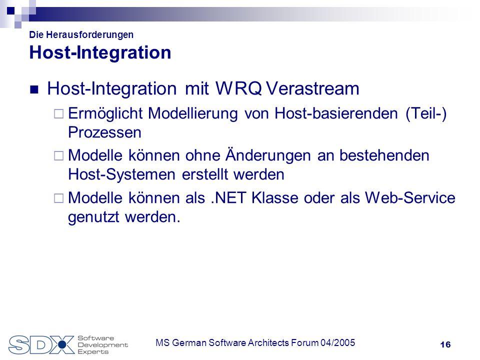 16 MS German Software Architects Forum 04/2005 Die Herausforderungen Host-Integration Host-Integration mit WRQ Verastream Ermöglicht Modellierung von