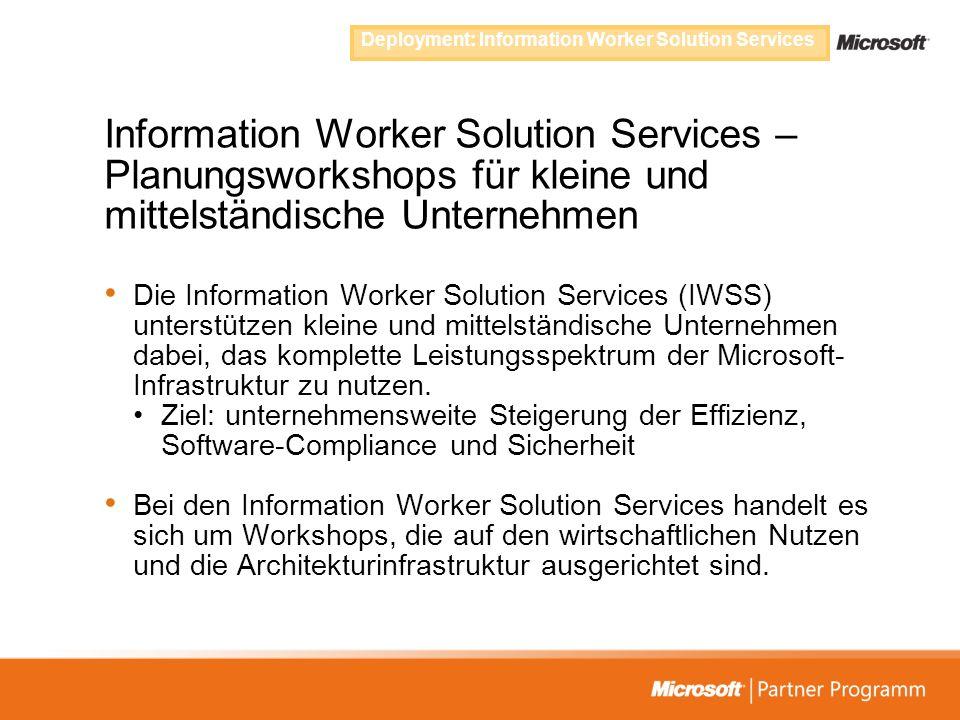 Information Worker Solution Services – Planungsworkshops für kleine und mittelständische Unternehmen Die Information Worker Solution Services (IWSS) u