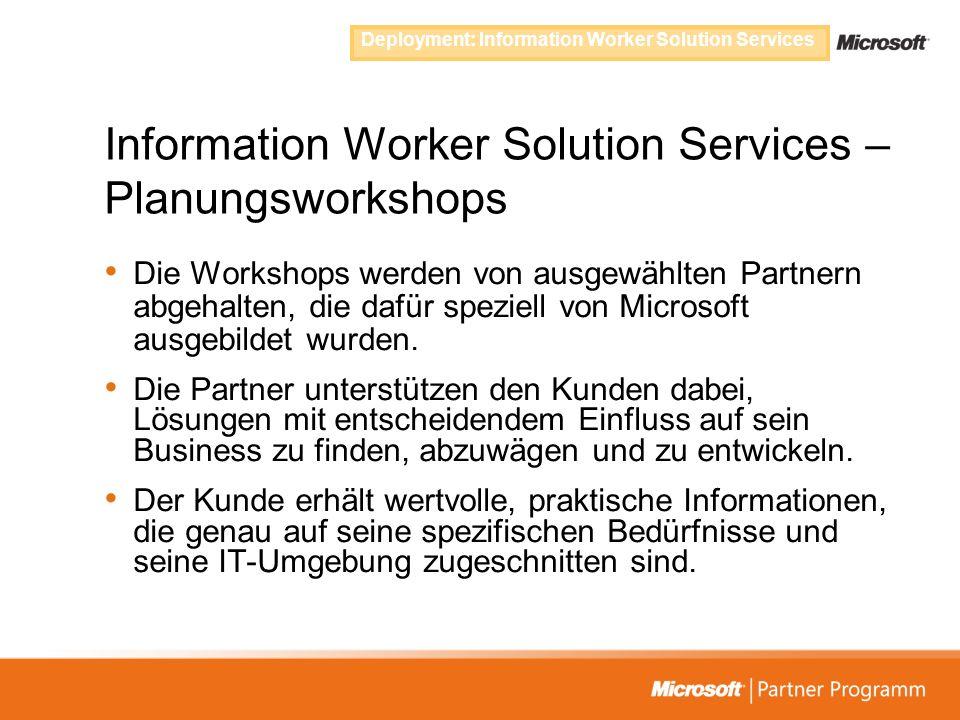 Information Worker Solution Services – Planungsworkshops Die Workshops werden von ausgewählten Partnern abgehalten, die dafür speziell von Microsoft a