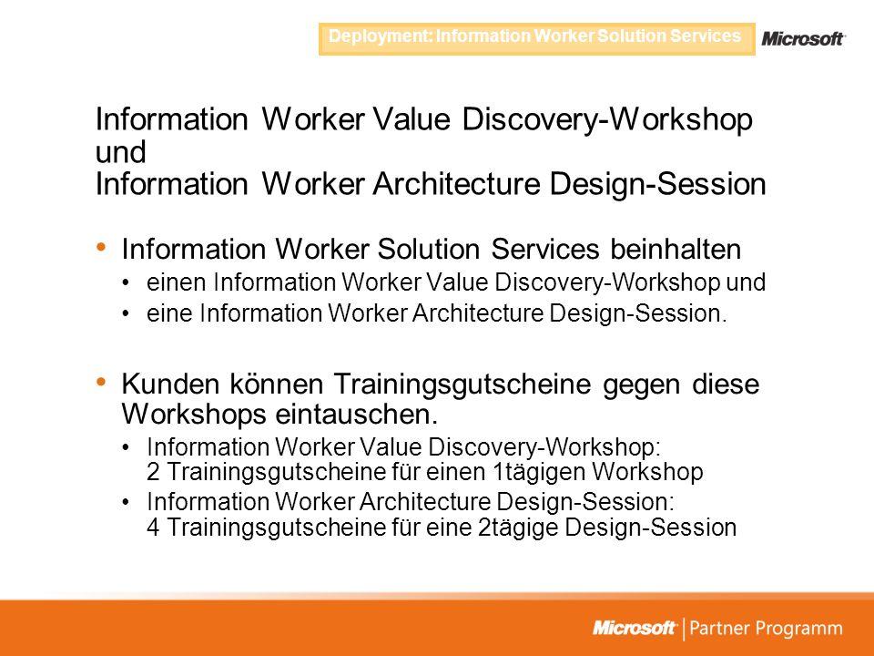 Information Worker Value Discovery-Workshop und Information Worker Architecture Design-Session Information Worker Solution Services beinhalten einen I