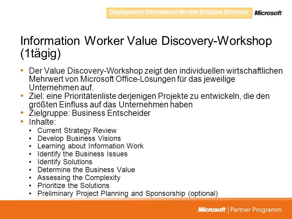 Information Worker Value Discovery-Workshop (1tägig) Der Value Discovery-Workshop zeigt den individuellen wirtschaftlichen Mehrwert von Microsoft Offi