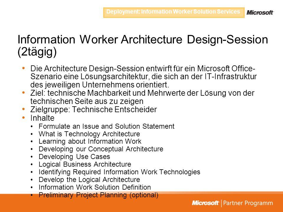 Information Worker Architecture Design-Session (2tägig) Die Architecture Design-Session entwirft für ein Microsoft Office- Szenario eine Lösungsarchit