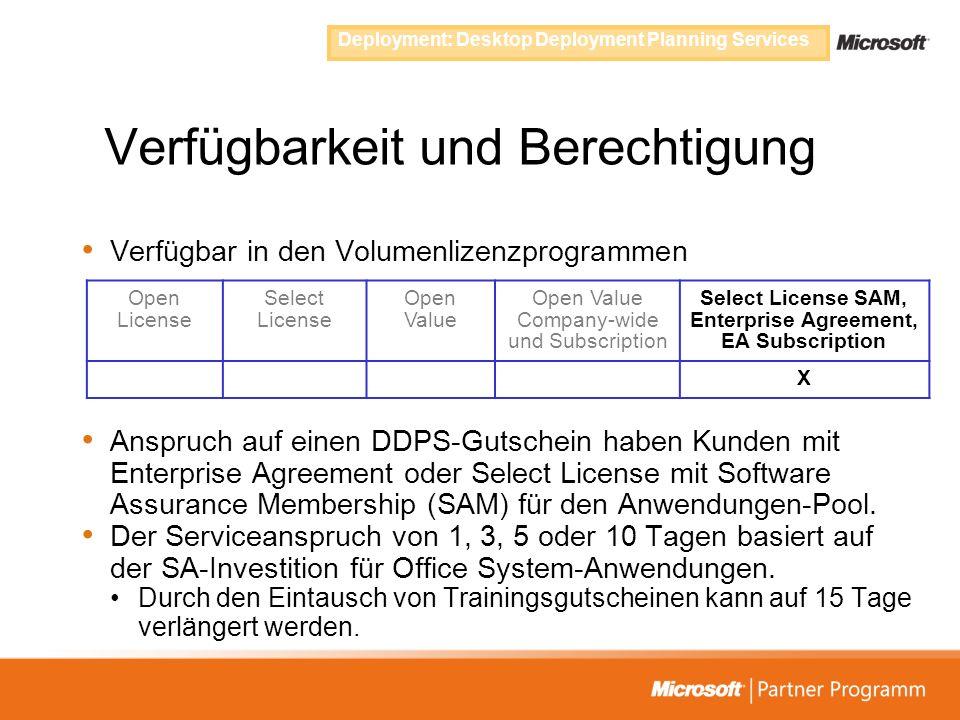 Verfügbarkeit und Berechtigung Verfügbar in den Volumenlizenzprogrammen Anspruch auf einen DDPS-Gutschein haben Kunden mit Enterprise Agreement oder S