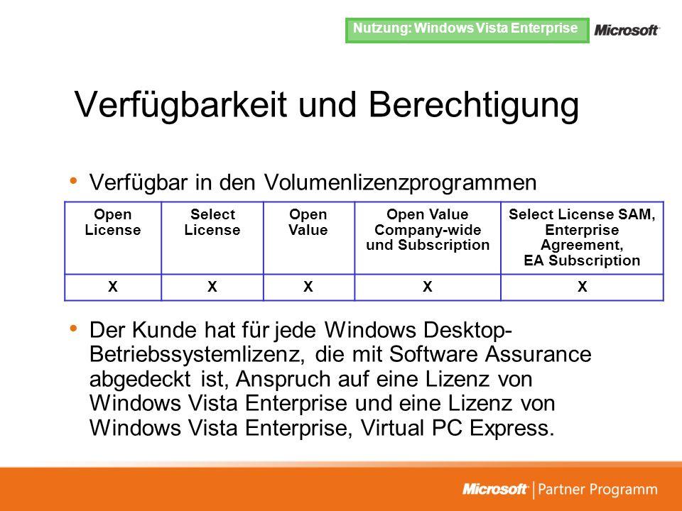 Verfügbarkeit und Berechtigung Verfügbar in den Volumenlizenzprogrammen Der Kunde hat für jede Windows Desktop- Betriebssystemlizenz, die mit Software