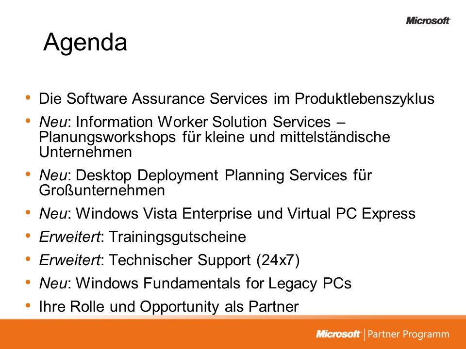 Agenda Die Software Assurance Services im Produktlebenszyklus Neu: Information Worker Solution Services – Planungsworkshops für kleine und mittelständ