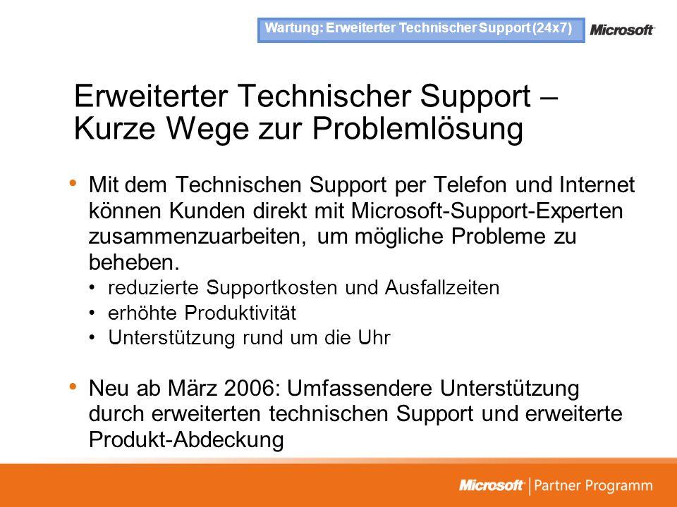 Erweiterter Technischer Support – Kurze Wege zur Problemlösung Mit dem Technischen Support per Telefon und Internet können Kunden direkt mit Microsoft