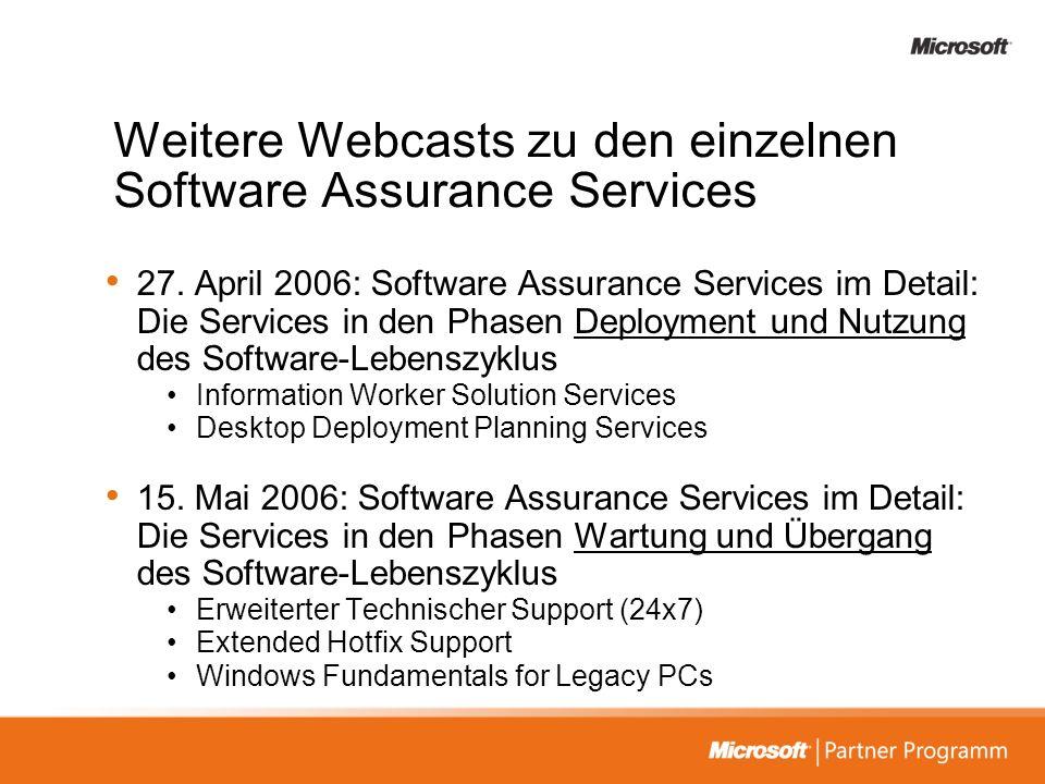 Weitere Webcasts zu den einzelnen Software Assurance Services 27. April 2006: Software Assurance Services im Detail: Die Services in den Phasen Deploy