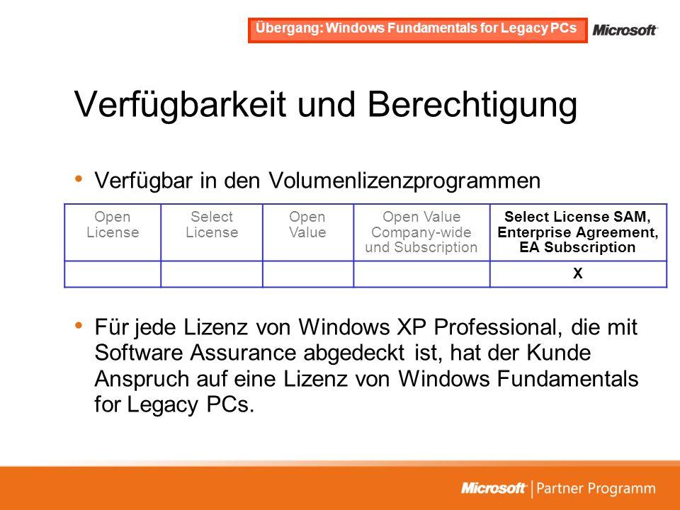 Verfügbarkeit und Berechtigung Verfügbar in den Volumenlizenzprogrammen Für jede Lizenz von Windows XP Professional, die mit Software Assurance abgede