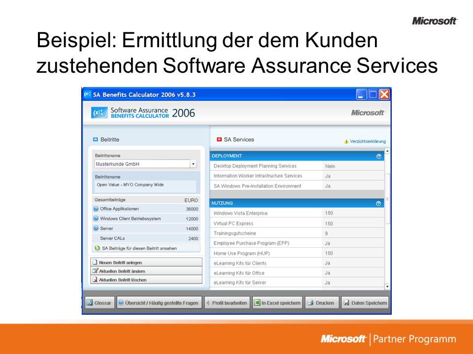 Beispiel: Ermittlung der dem Kunden zustehenden Software Assurance Services