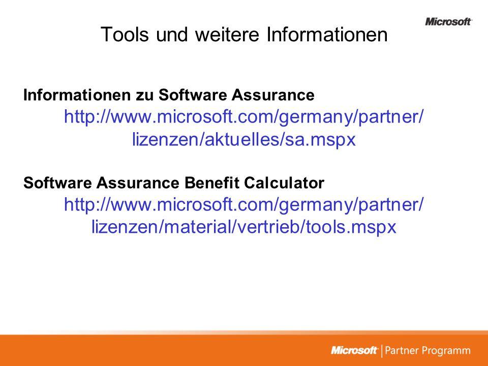 Tools und weitere Informationen Informationen zu Software Assurance http://www.microsoft.com/germany/partner/ lizenzen/aktuelles/sa.mspx Software Assu