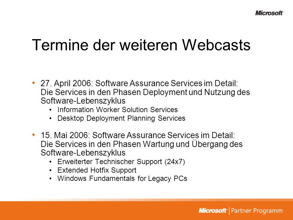 Termine der weiteren Webcasts 27. April 2006: Software Assurance Services im Detail: Die Services in den Phasen Deployment und Nutzung des Software-Le