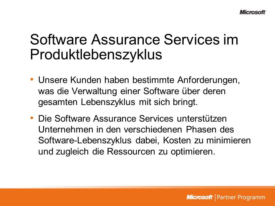Software Assurance Services im Produktlebenszyklus Der Produktlebenszyklus setzt sich aus 5 Phasen zusammen, die die gesamte Interaktion des Kunden mit seiner Software abbilden.