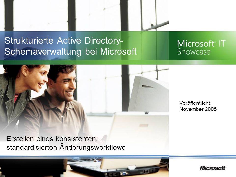 Strukturierte Active Directory- Schemaverwaltung bei Microsoft Erstellen eines konsistenten, standardisierten Änderungsworkflows Veröffentlicht: November 2005