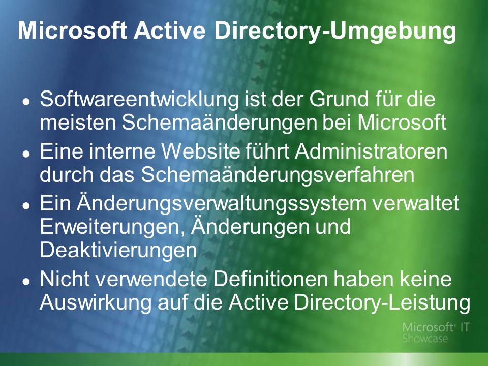 Microsoft Active Directory-Umgebung Softwareentwicklung ist der Grund für die meisten Schemaänderungen bei Microsoft Eine interne Website führt Administratoren durch das Schemaänderungsverfahren Ein Änderungsverwaltungssystem verwaltet Erweiterungen, Änderungen und Deaktivierungen Nicht verwendete Definitionen haben keine Auswirkung auf die Active Directory-Leistung