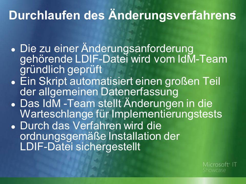 Durchlaufen des Änderungsverfahrens Die zu einer Änderungsanforderung gehörende LDIF-Datei wird vom IdM-Team gründlich geprüft Ein Skript automatisiert einen großen Teil der allgemeinen Datenerfassung Das IdM -Team stellt Änderungen in die Warteschlange für Implementierungstests Durch das Verfahren wird die ordnungsgemäße Installation der LDIF-Datei sichergestellt