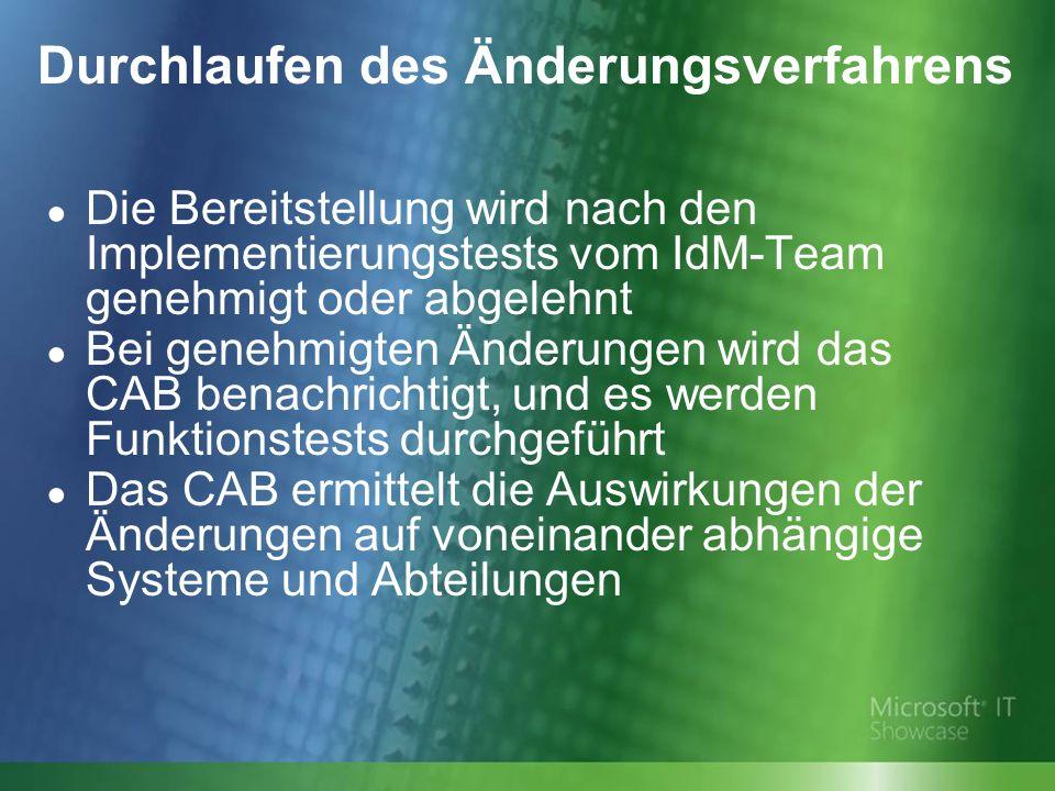 Durchlaufen des Änderungsverfahrens Die Bereitstellung wird nach den Implementierungstests vom IdM-Team genehmigt oder abgelehnt Bei genehmigten Änderungen wird das CAB benachrichtigt, und es werden Funktionstests durchgeführt Das CAB ermittelt die Auswirkungen der Änderungen auf voneinander abhängige Systeme und Abteilungen