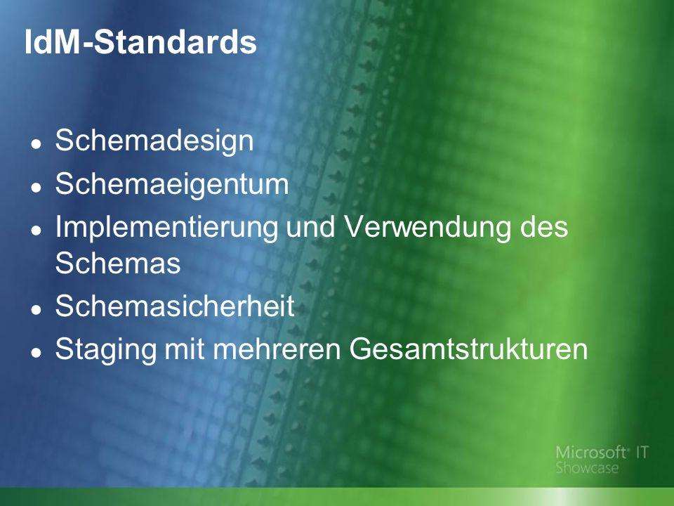 IdM-Standards Schemadesign Schemaeigentum Implementierung und Verwendung des Schemas Schemasicherheit Staging mit mehreren Gesamtstrukturen