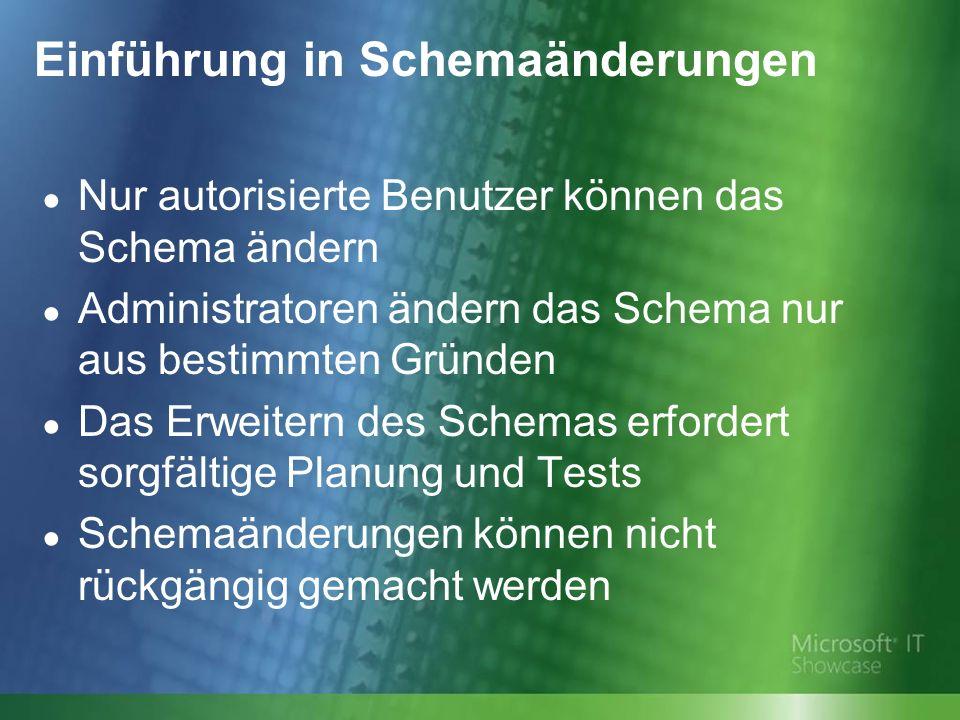 Einführung in Schemaänderungen Nur autorisierte Benutzer können das Schema ändern Administratoren ändern das Schema nur aus bestimmten Gründen Das Erweitern des Schemas erfordert sorgfältige Planung und Tests Schemaänderungen können nicht rückgängig gemacht werden