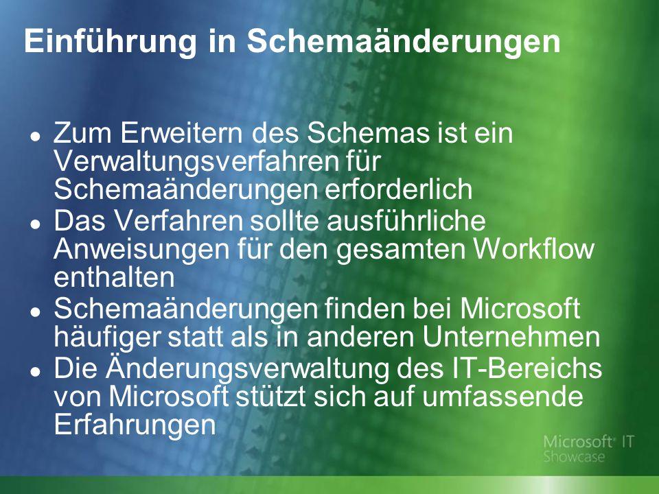 Einführung in Schemaänderungen Zum Erweitern des Schemas ist ein Verwaltungsverfahren für Schemaänderungen erforderlich Das Verfahren sollte ausführliche Anweisungen für den gesamten Workflow enthalten Schemaänderungen finden bei Microsoft häufiger statt als in anderen Unternehmen Die Änderungsverwaltung des IT-Bereichs von Microsoft stützt sich auf umfassende Erfahrungen