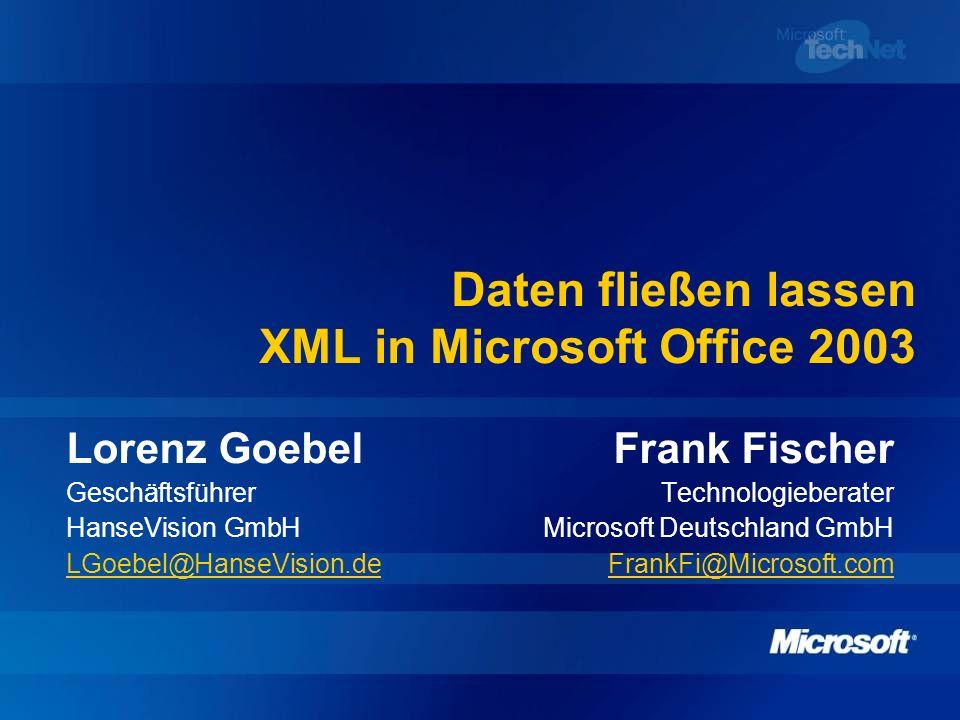 Daten fließen lassen XML in Microsoft Office 2003 Lorenz GoebelFrank Fischer GeschäftsführerTechnologieberater HanseVision GmbHMicrosoft Deutschland G