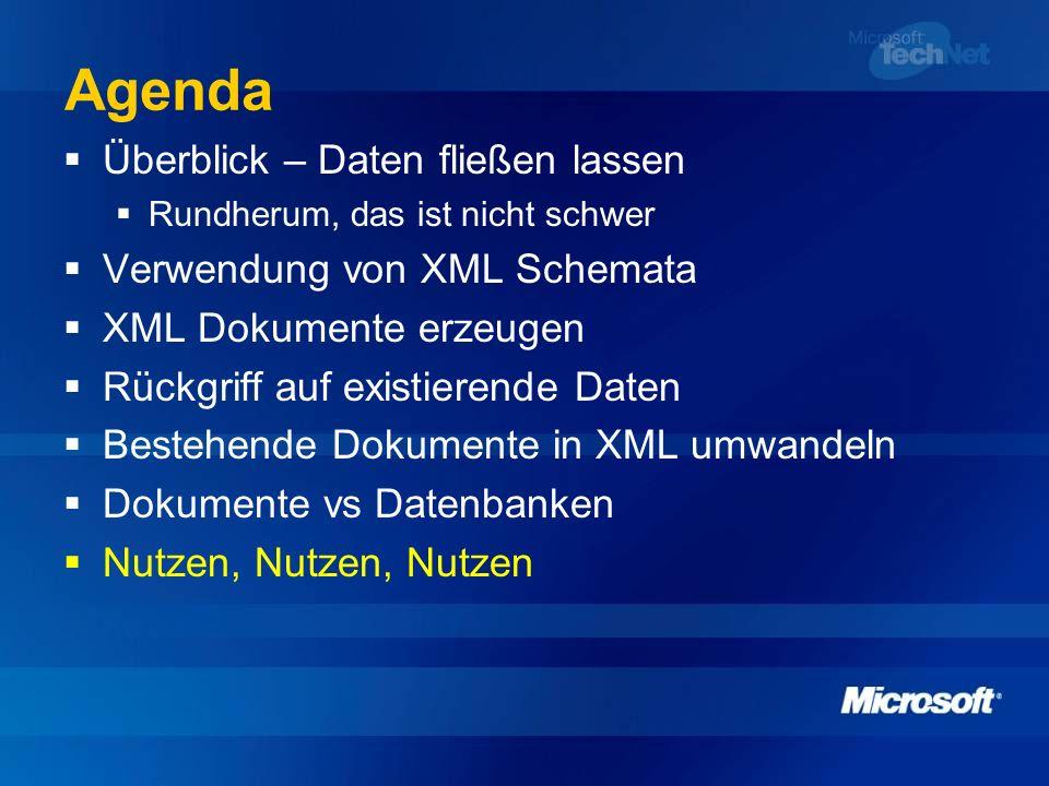 Agenda Überblick – Daten fließen lassen Rundherum, das ist nicht schwer Verwendung von XML Schemata XML Dokumente erzeugen Rückgriff auf existierende