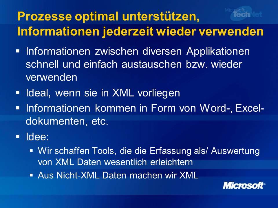 Prozesse optimal unterstützen, Informationen jederzeit wieder verwenden Informationen zwischen diversen Applikationen schnell und einfach austauschen
