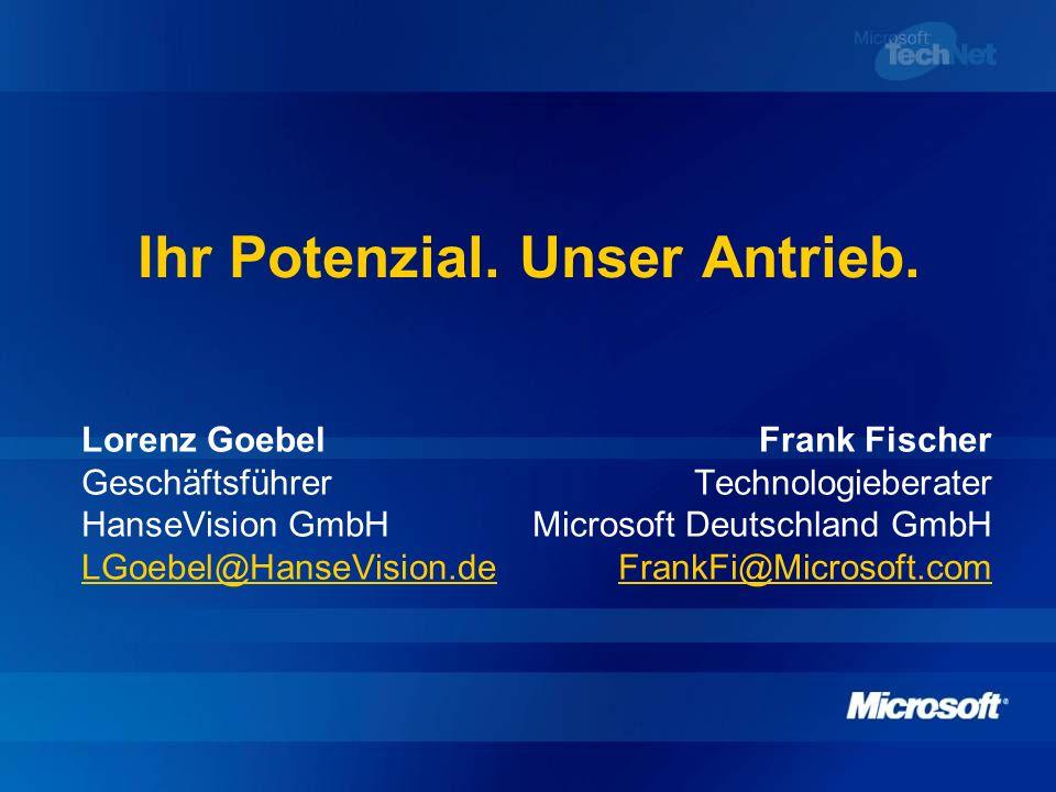 Ihr Potenzial. Unser Antrieb. Lorenz GoebelFrank Fischer GeschäftsführerTechnologieberater HanseVision GmbHMicrosoft Deutschland GmbH LGoebel@HanseVis