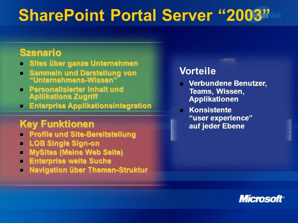 SharePoint Portal Server v2.0 IT Pro Szenario Anwender Anforderungen Integration, Zusammenarbeitsplattform Anwender Anforderungen Integration, Zusammenarbeitsplattform Managebarkeit von vielen Sites Managebarkeit von vielen Sites Managen der Kategorien, Indizierung, Kontent Managen der Kategorien, Indizierung, Kontent Einfacher sicherer Zugriff, Verfügbarkeit Einfacher sicherer Zugriff, Verfügbarkeit Key Funktionen Bereitstellung von My Site, Team Sites, zentralen Sites Bereitstellung von My Site, Team Sites, zentralen Sites Skalierbare Indizierung (Architektur) Skalierbare Indizierung (Architektur) Integration des BizTalk Servers für EAI Integration des BizTalk Servers für EAI Portal TeamsMySites Search Index BizTalk Vorteile geringe TCO Hochverfügbarkeit, Skalierbarkeit Einfache und leistungsstarke Administration Applikationsintegration in die Plattform Verbindung zwischen Server, Sites, Applikationen und Benutzern