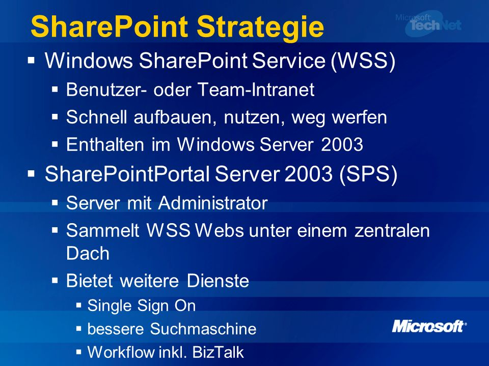 SharePoint Strategie Windows SharePoint Service (WSS) Benutzer- oder Team-Intranet Schnell aufbauen, nutzen, weg werfen Enthalten im Windows Server 20
