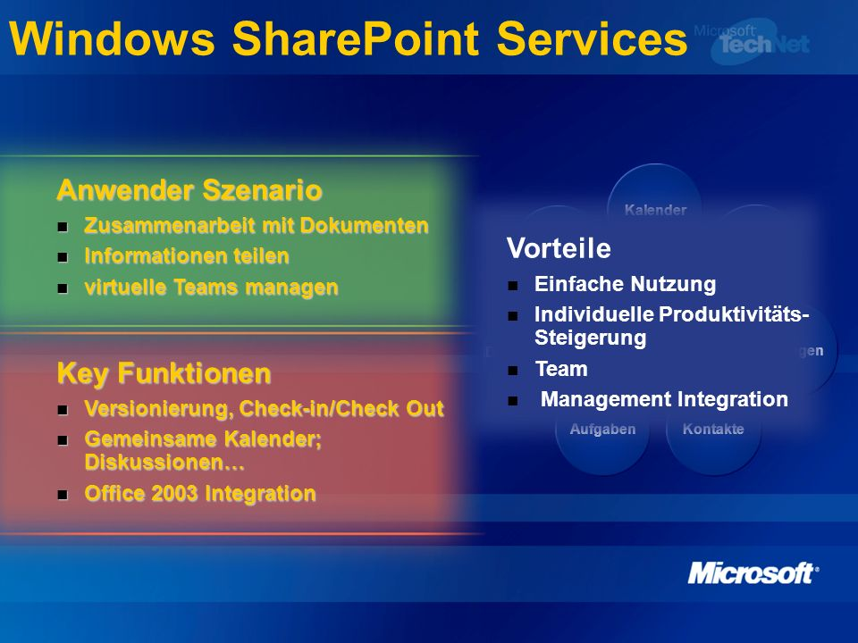 Windows SharePoint Services Anwender Szenario Zusammenarbeit mit Dokumenten Zusammenarbeit mit Dokumenten Informationen teilen Informationen teilen virtuelle Teams managen virtuelle Teams managen Key Funktionen Versionierung, Check-in/Check Out Versionierung, Check-in/Check Out Gemeinsame Kalender; Diskussionen… Gemeinsame Kalender; Diskussionen… Office 2003 Integration Office 2003 Integration Dokumente Diskussionen AufgabenKontakte Umfragen Mitglieder Kalender Team Vorteile Einfache Nutzung Individuelle Produktivitäts- Steigerung Team Management Integration
