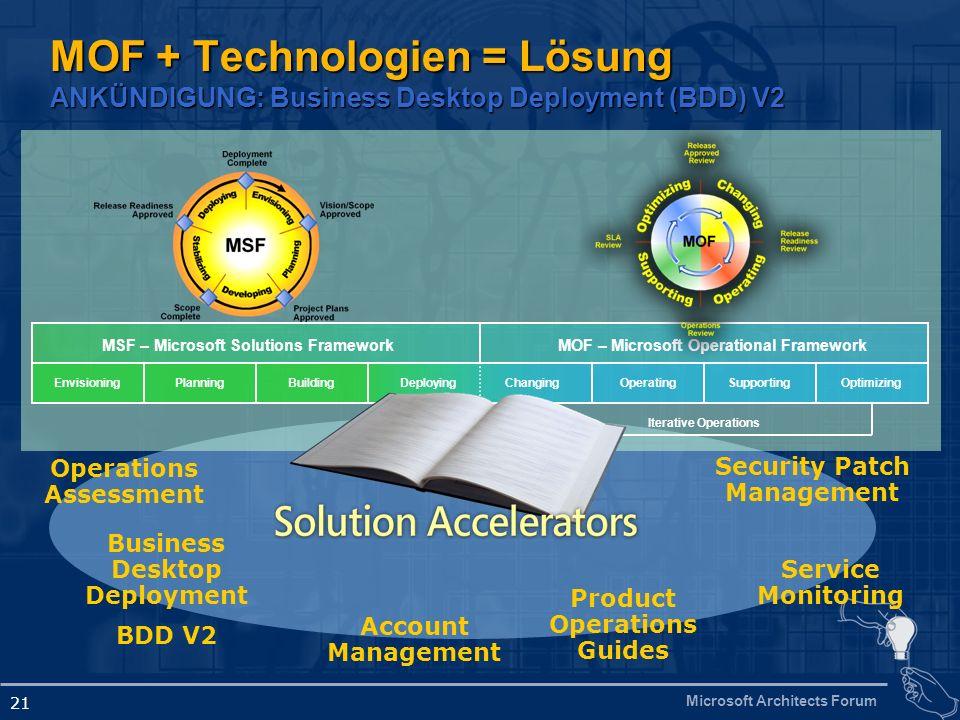 Microsoft Architects Forum 21 MOF + Technologien = Lösung ANKÜNDIGUNG: Business Desktop Deployment (BDD) V2 MOF – Microsoft Operational FrameworkMSF –