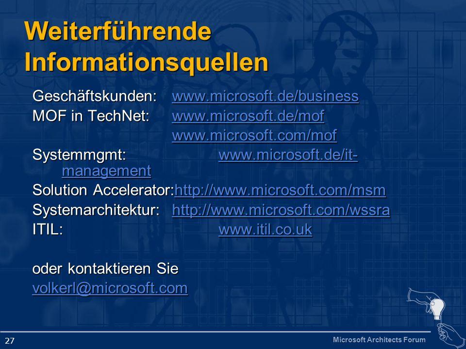 Microsoft Architects Forum 27 Geschäftskunden: www.microsoft.de/business www.microsoft.de/business MOF in TechNet: www.microsoft.de/mof www.microsoft.