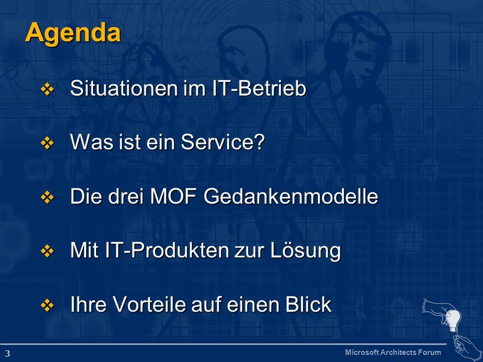 Microsoft Architects Forum 3 Agenda Situationen im IT-Betrieb Situationen im IT-Betrieb Was ist ein Service? Was ist ein Service? Die drei MOF Gedanke