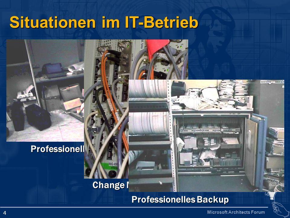 Microsoft Architects Forum 4 Situationen im IT-Betrieb Professionelles Helpdesk Change Management Professionelles Backup