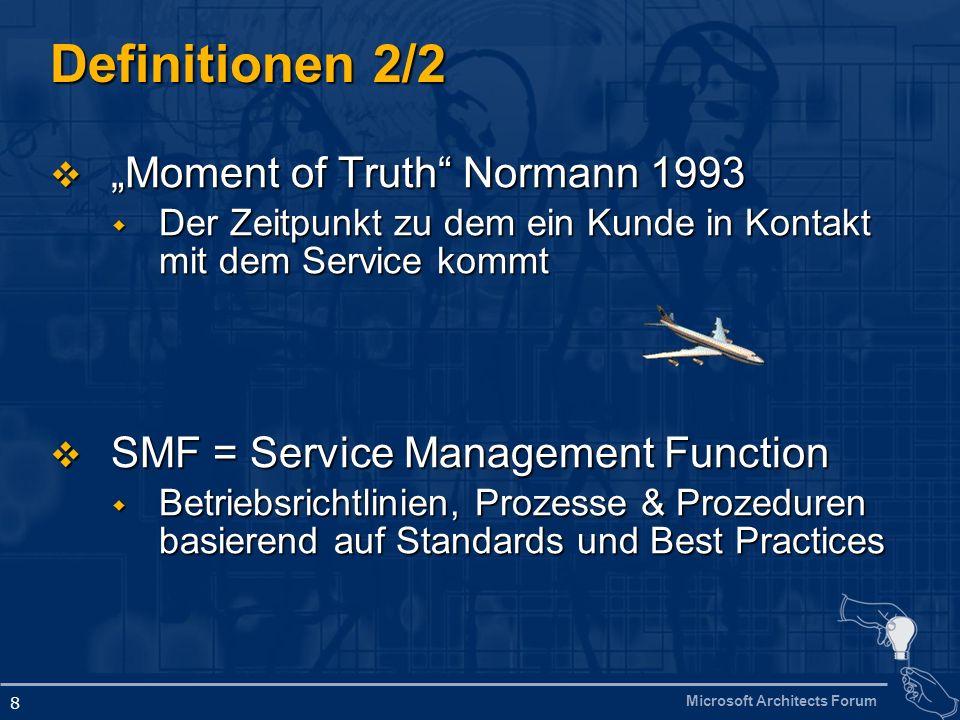 Microsoft Architects Forum 8 Definitionen 2/2 Moment of Truth Normann 1993 Moment of Truth Normann 1993 Der Zeitpunkt zu dem ein Kunde in Kontakt mit