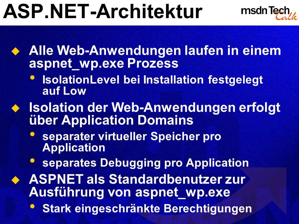 ASP.NET-Architektur Alle Web-Anwendungen laufen in einem aspnet_wp.exe Prozess IsolationLevel bei Installation festgelegt auf Low Isolation der Web-An
