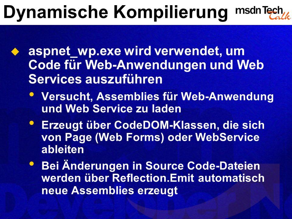Dynamische Kompilierung aspnet_wp.exe wird verwendet, um Code für Web-Anwendungen und Web Services auszuführen Versucht, Assemblies für Web-Anwendung