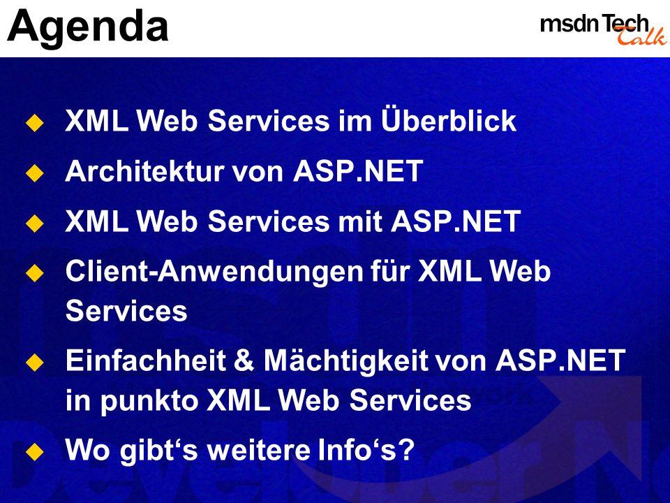Agenda XML Web Services im Überblick Architektur von ASP.NET XML Web Services mit ASP.NET Client-Anwendungen für XML Web Services Einfachheit & Mächti