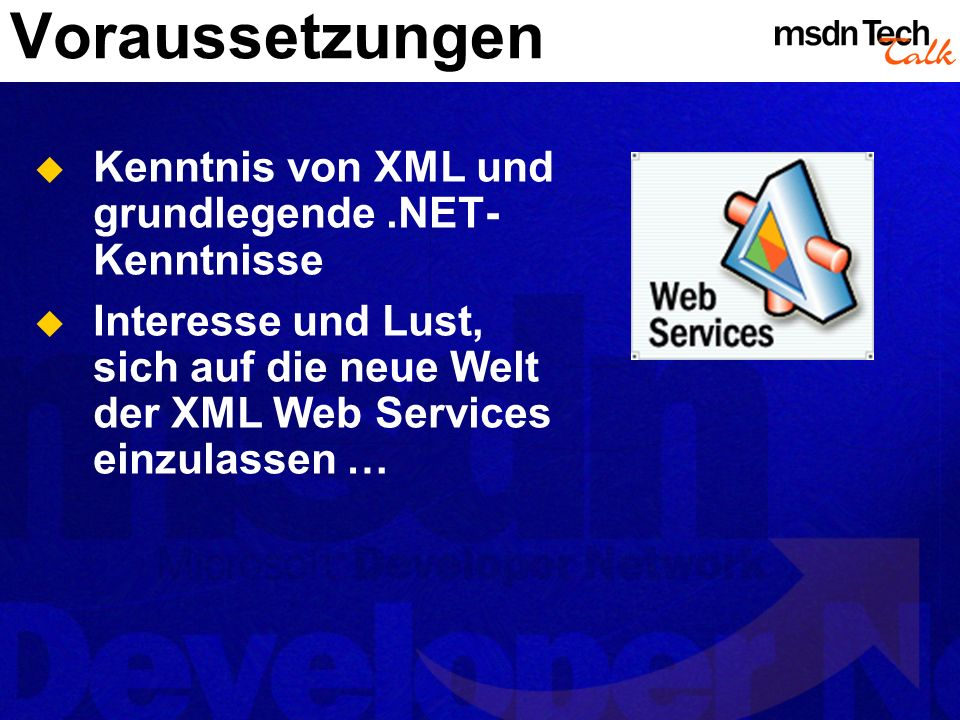 Erweiterungsmöglichkeiten SoapExtensions Fortgeschrittenes Konzept Web Services-Aufrufe können intercepted werden Web Method-Aufrufe können intercepted werden Pre- und Post-Processing Klasse von SoapExtension ableiten Eigenes Attribut von SoapExtensionAttribute ableiten Attribut auf Methoden einer Web Service-Klasse anwenden Auch Konfiguration über web.config/machine.config möglich