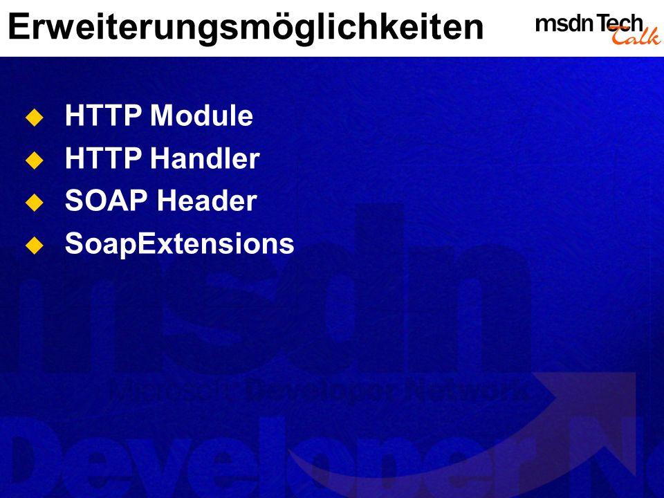 Erweiterungsmöglichkeiten HTTP Module HTTP Handler SOAP Header SoapExtensions