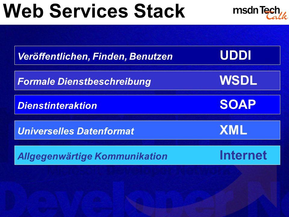 XML Web Services XML Web Services werden mit ASP.NET zum Kinderspiel Keine Kenntnis über die Standards notwendig Verführt zur Spielerei -> Web Services nicht für alles geeignet Mapping von Web Services auf Dateiendung.asmx Machine.config IIS Mapping Implementierung inline oder als Code-behind- Klasse Festlegung über die @WebService Direktive