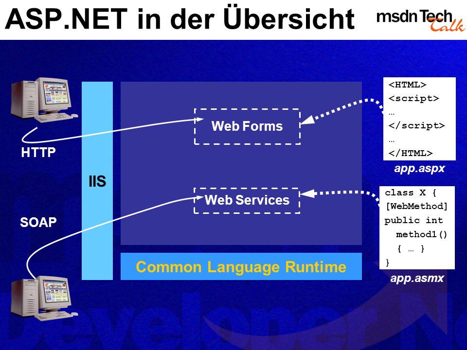 XML Web Services Attribut muss sich auf eine Klasse beziehen Namespace System.Web.Services Diese Klasse kann von Klasse WebService abgeleitet sein Direkter Zugriff auf HttpContext Eigenschaften Description und Namespace werden in WSDL und auch im Client Proxy verwendet Description: Informale Beschreibung des Web Services Namespace: XML Namespace, in dem die Typen/Schemas des Web Services definiert sind