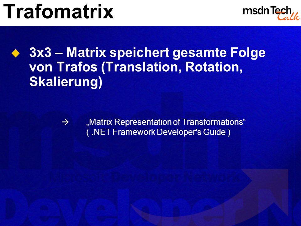 Trafomatrix 3x3 – Matrix speichert gesamte Folge von Trafos (Translation, Rotation, Skalierung) Matrix Representation of Transformations (.NET Framewo