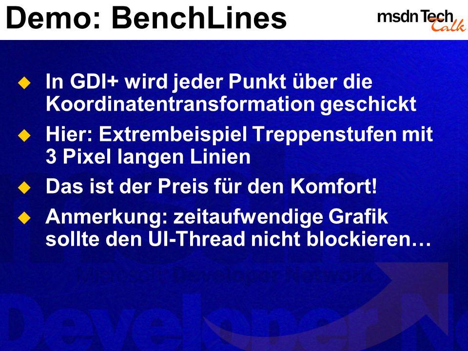Demo: BenchLines In GDI+ wird jeder Punkt über die Koordinatentransformation geschickt Hier: Extrembeispiel Treppenstufen mit 3 Pixel langen Linien Da