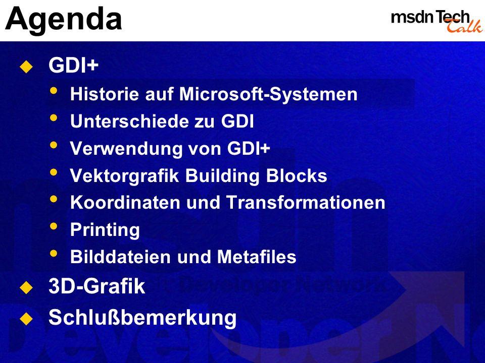Agenda GDI+ Historie auf Microsoft-Systemen Unterschiede zu GDI Verwendung von GDI+ Vektorgrafik Building Blocks Koordinaten und Transformationen Prin