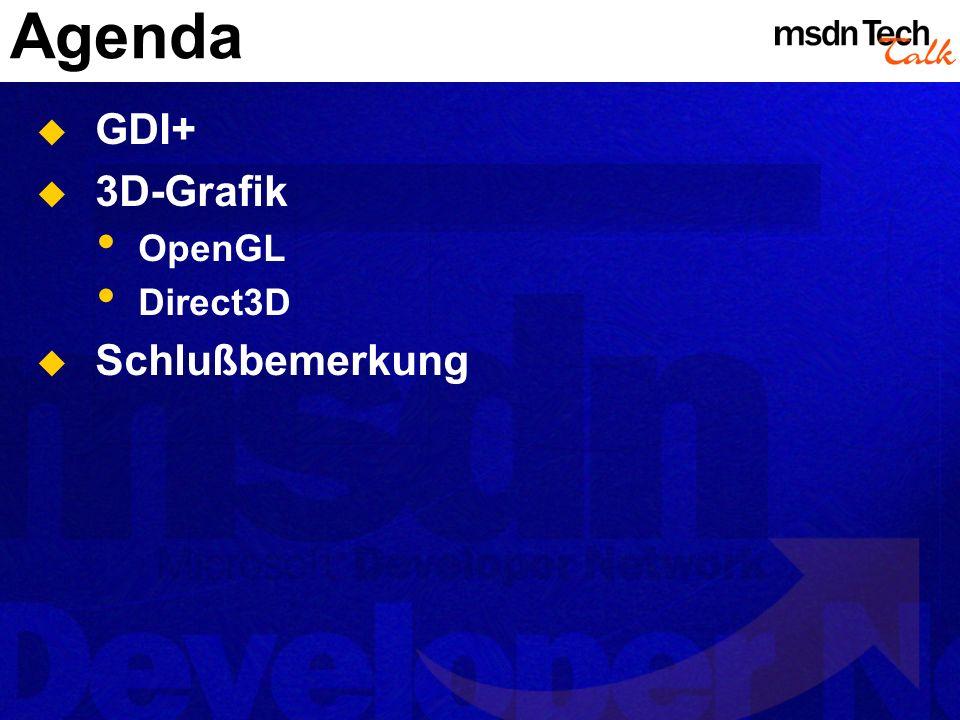 Agenda GDI+ 3D-Grafik OpenGL Direct3D Schlußbemerkung