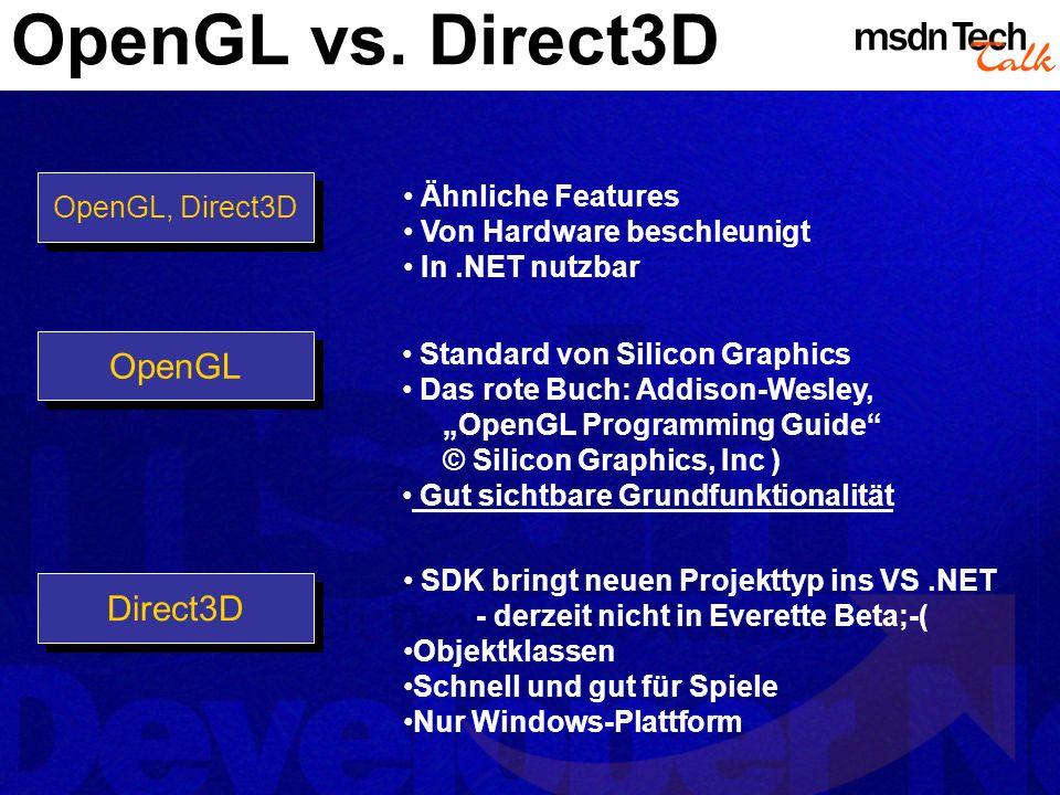 OpenGL vs. Direct3D OpenGL OpenGL, Direct3D Direct3D Ähnliche Features Von Hardware beschleunigt In.NET nutzbar Standard von Silicon Graphics Das rote