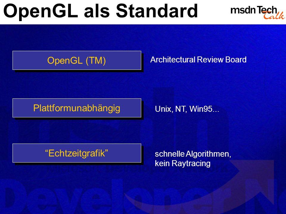 OpenGL als Standard Plattformunabhängig OpenGL (TM) Architectural Review Board Unix, NT, Win95... Echtzeitgrafik schnelle Algorithmen, kein Raytracing
