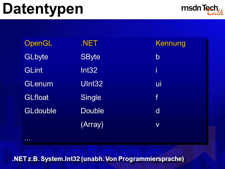 Datentypen OpenGL.NETKennung GLbyteSByteb GLintInt32i GLenumUInt32ui GLfloatSinglef GLdoubleDoubled (Array)v... OpenGL.NETKennung GLbyteSByteb GLintIn
